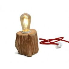 Veioza rustica din lemn LB 12 Rosu